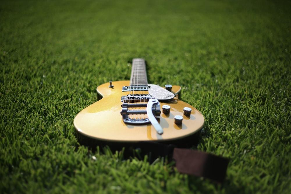 芝生の上のジャズアコースティックギター