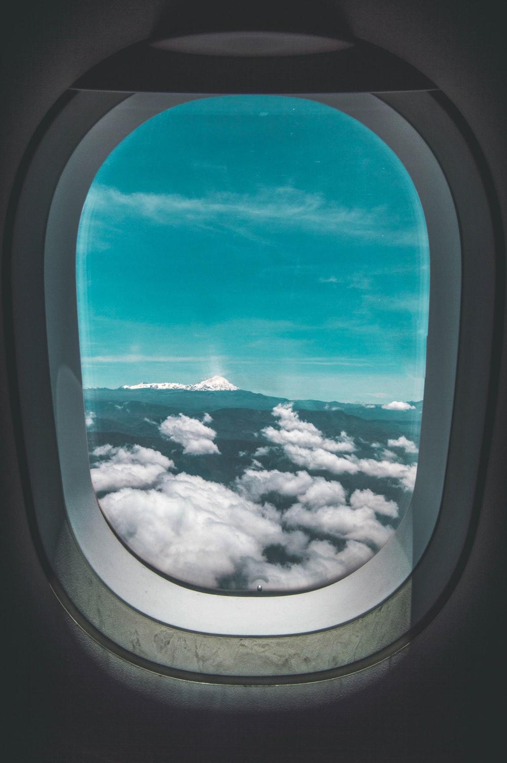 airplane inside window at night