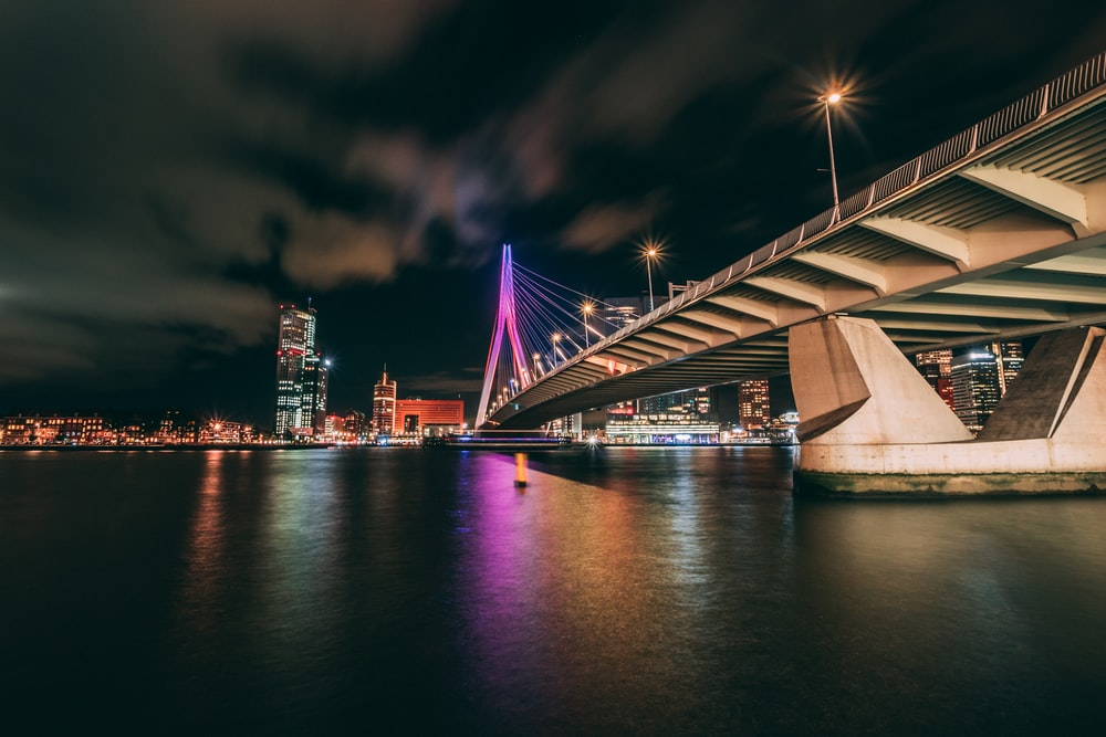 concrete bridge during nighttime