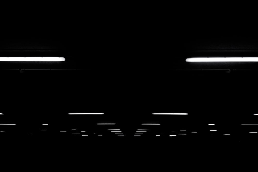 fluorescent light lot on black ceiling