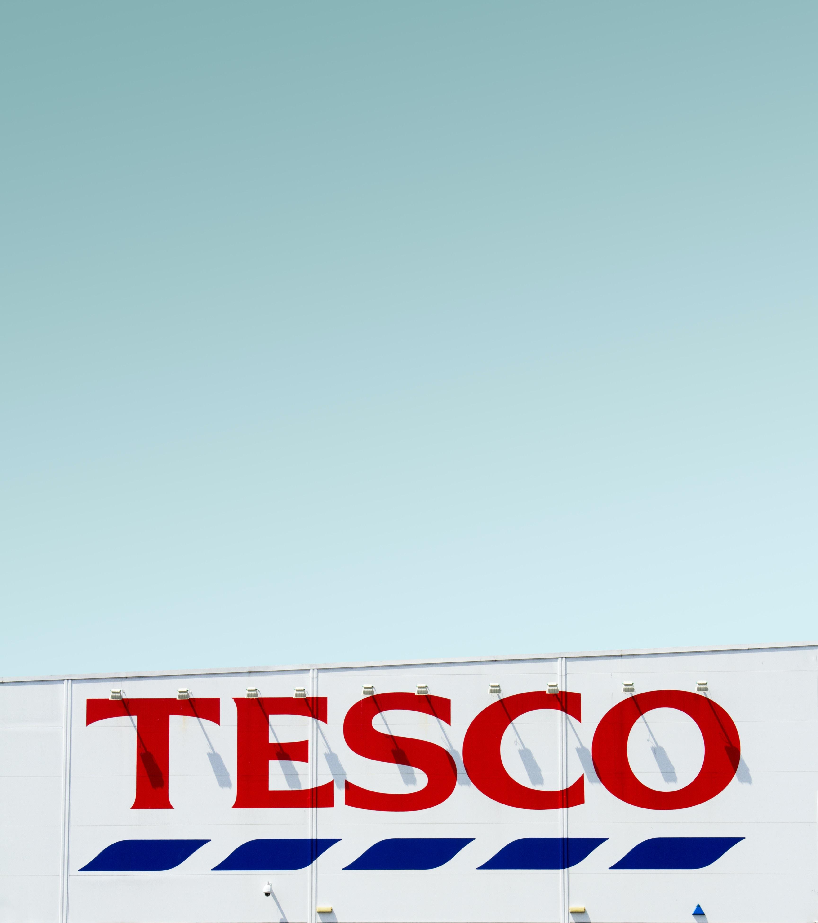 Tesco building under clear blue sky