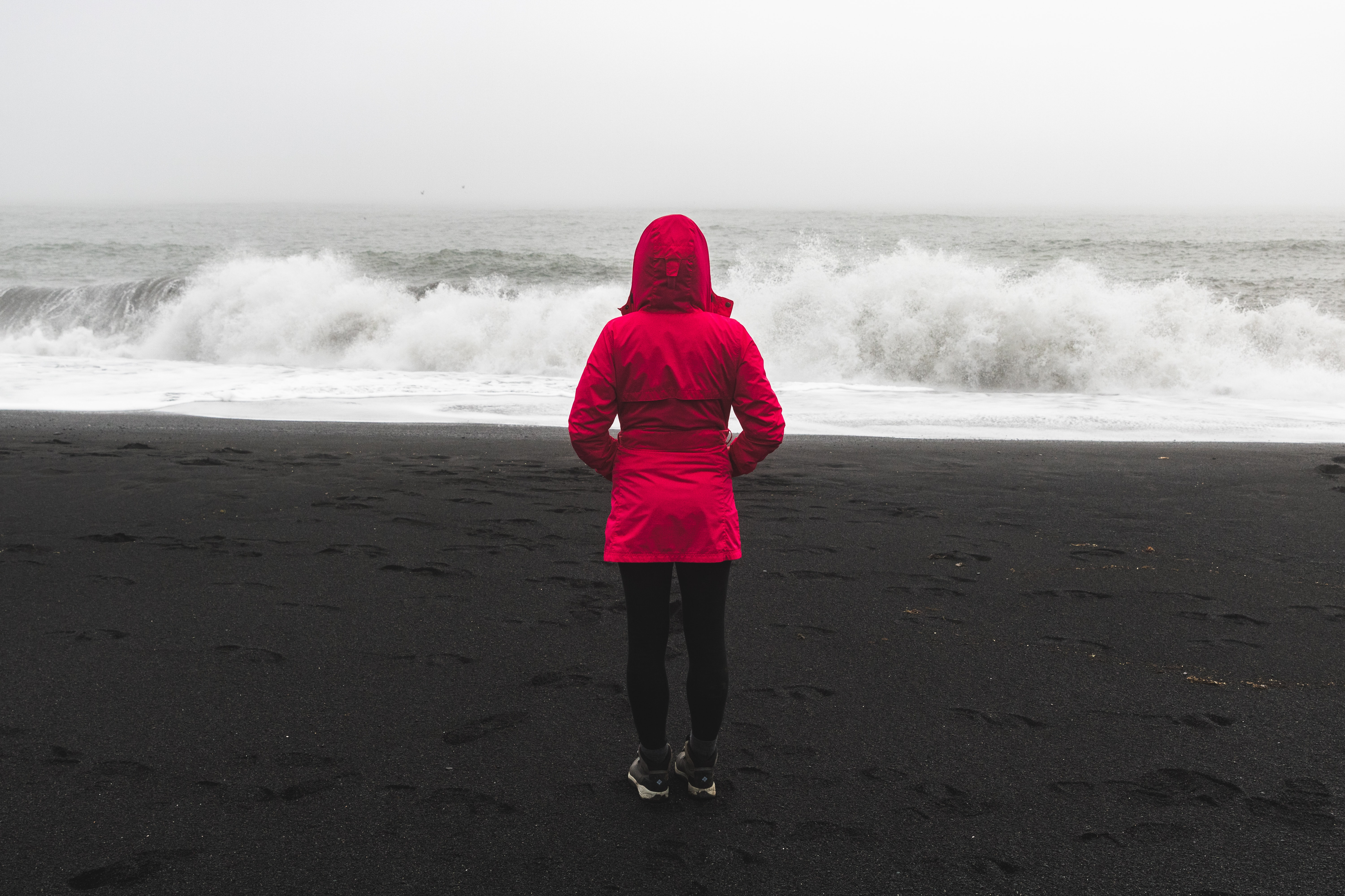 person standing on beach
