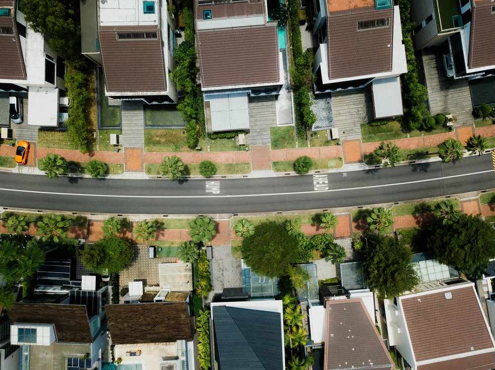 aerial photo of brown roof houses
