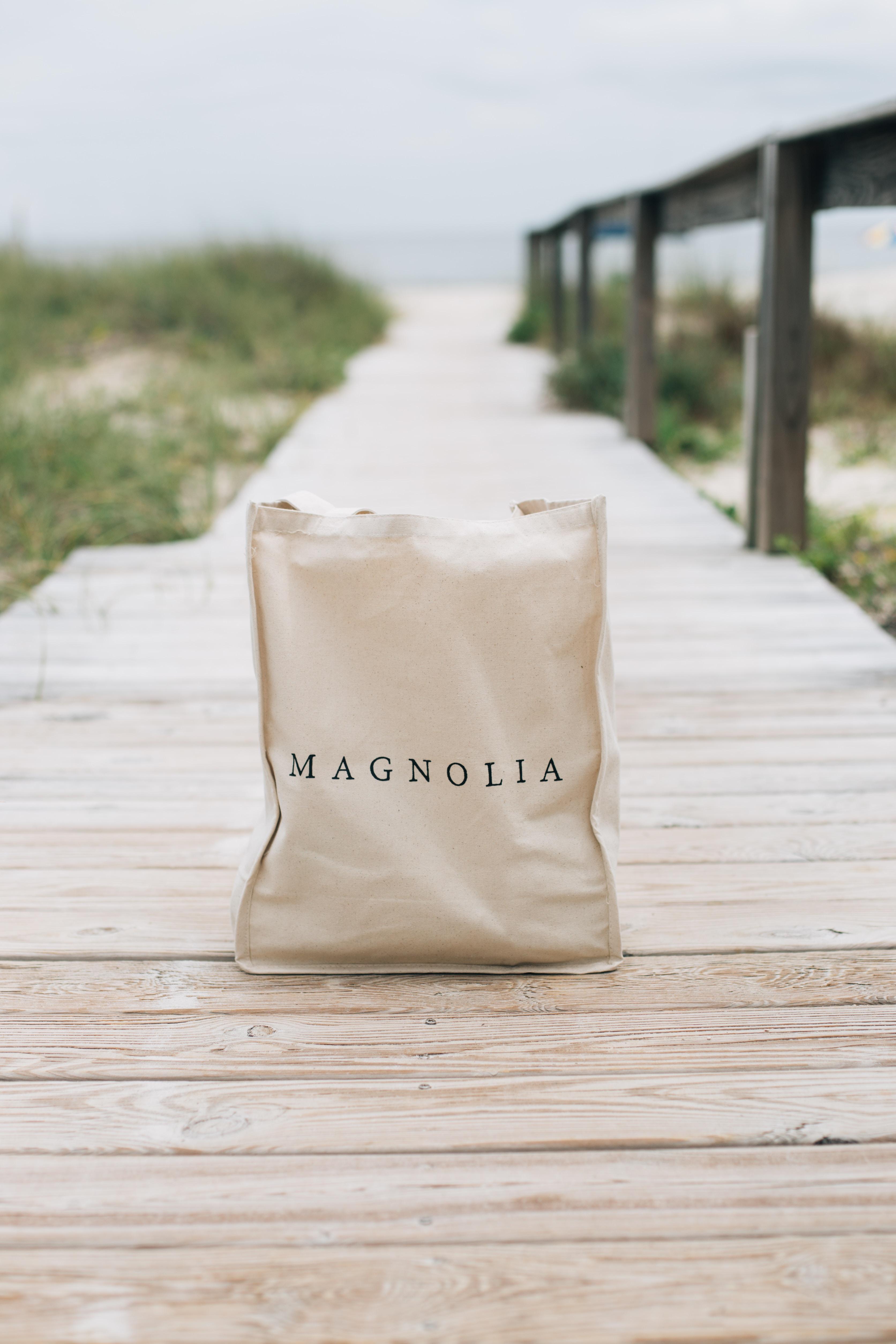 bag sitting on a dock