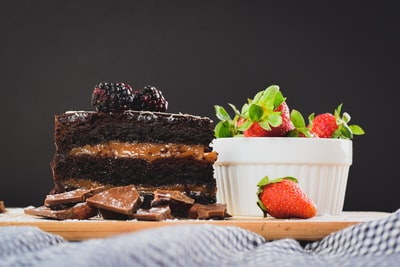 chocolate cake with strawberries dessert zoom background