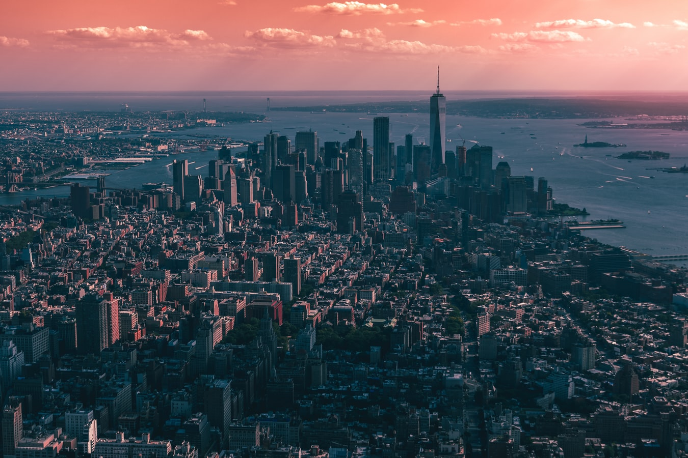 New York City skyline in the glow of sunset.