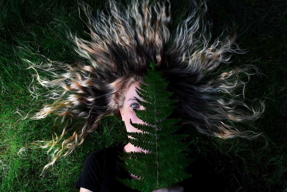 woman lying on grass and holding green leaf