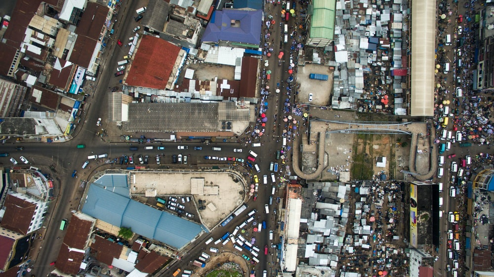 aerial view photography of vehicle in city