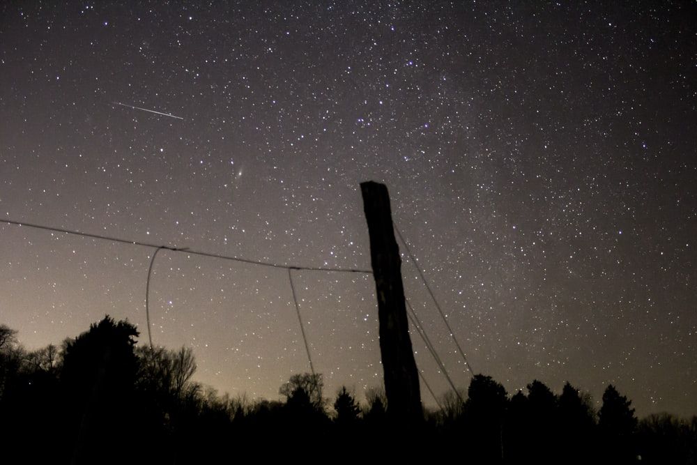 silhouette of pole under night sky