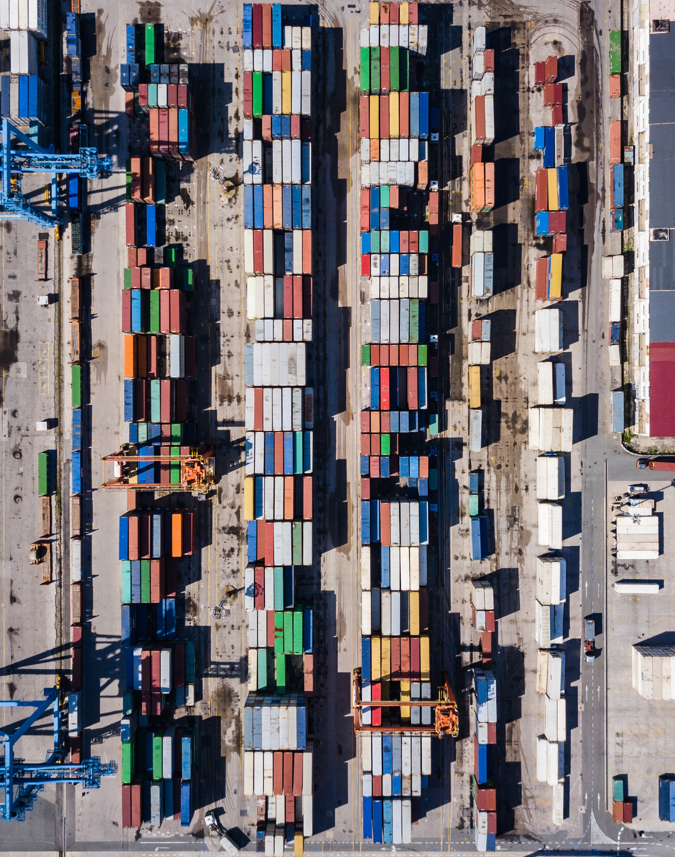 aerial view of port with shipping container