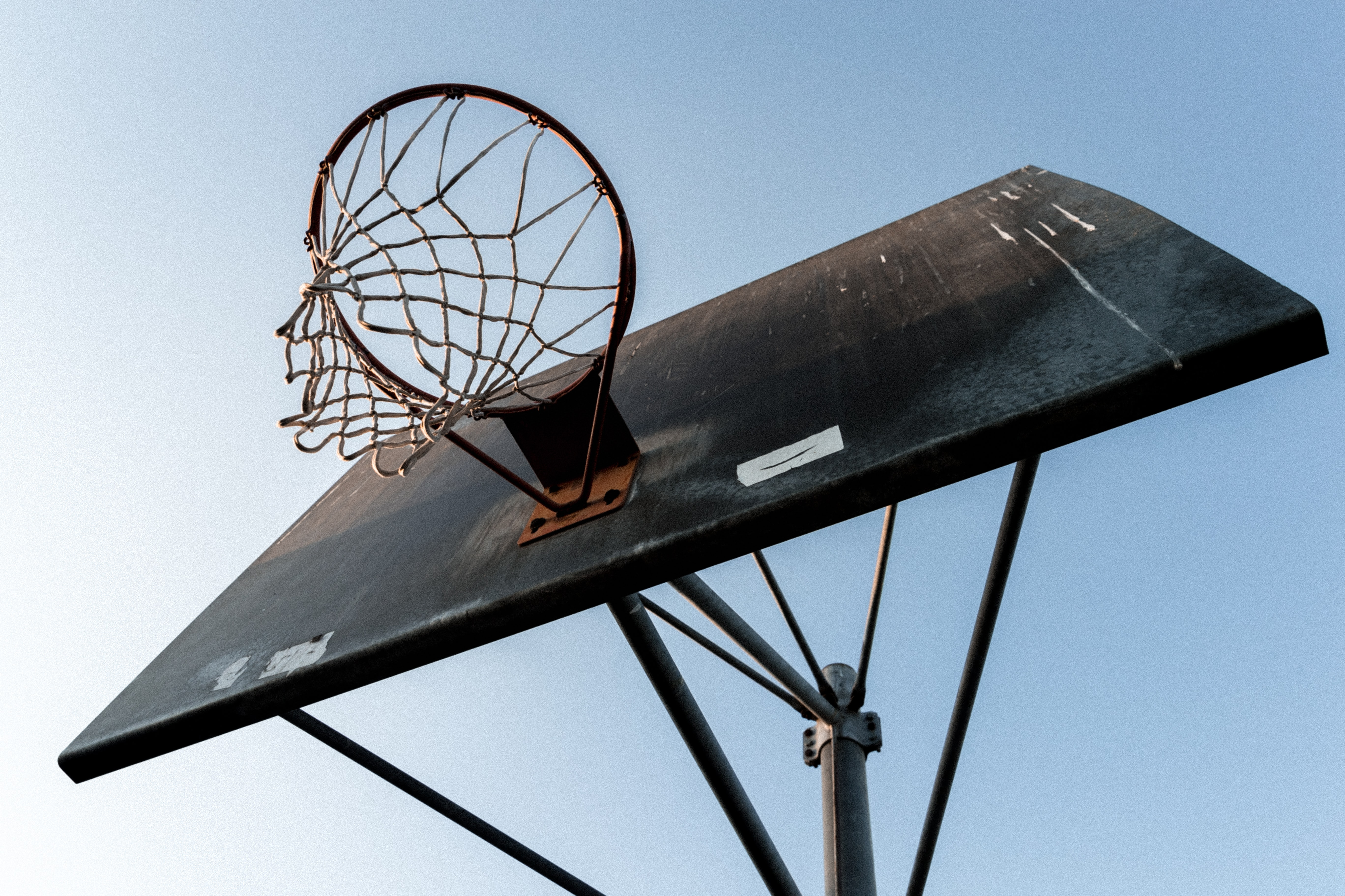 worm's eye view photography of basketball hoop