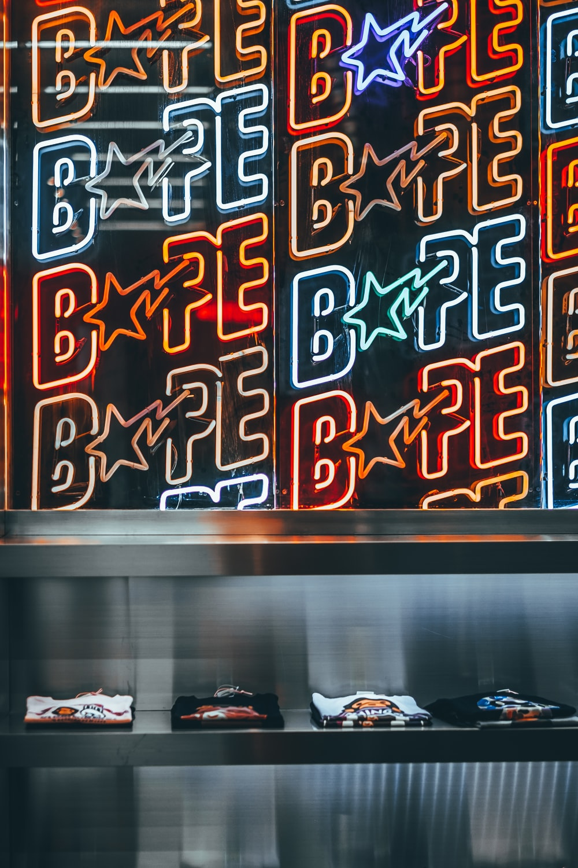 Bape neon signages turned on