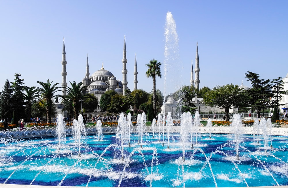 water fountain near Sultan Ahmed Mosque at daytime