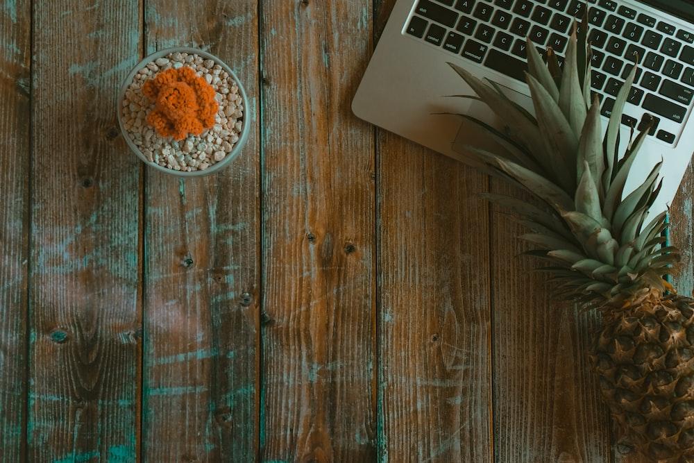 brown pineapple beside MacBook