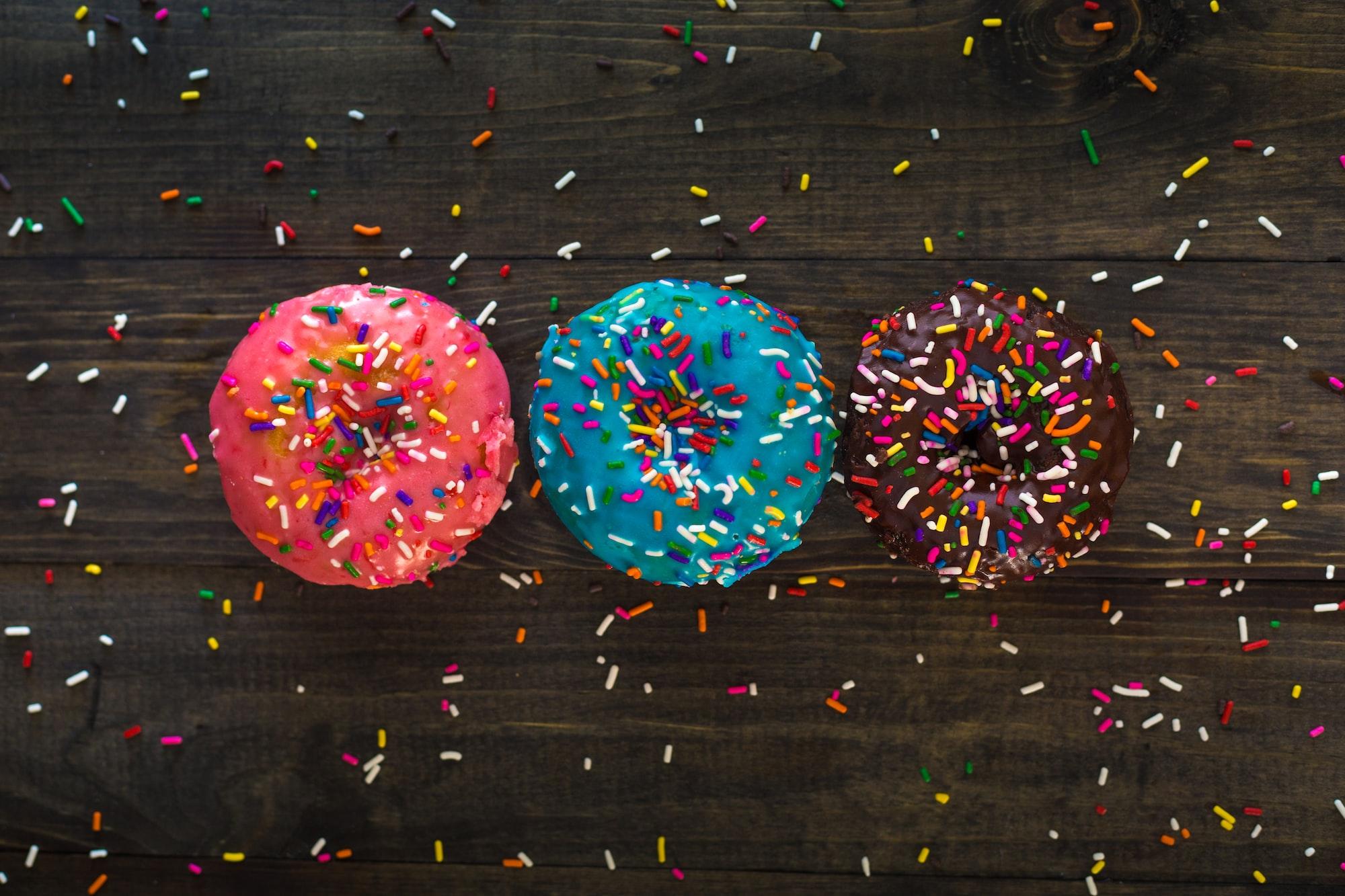 Three Delicious Doughnuts Flay Lay