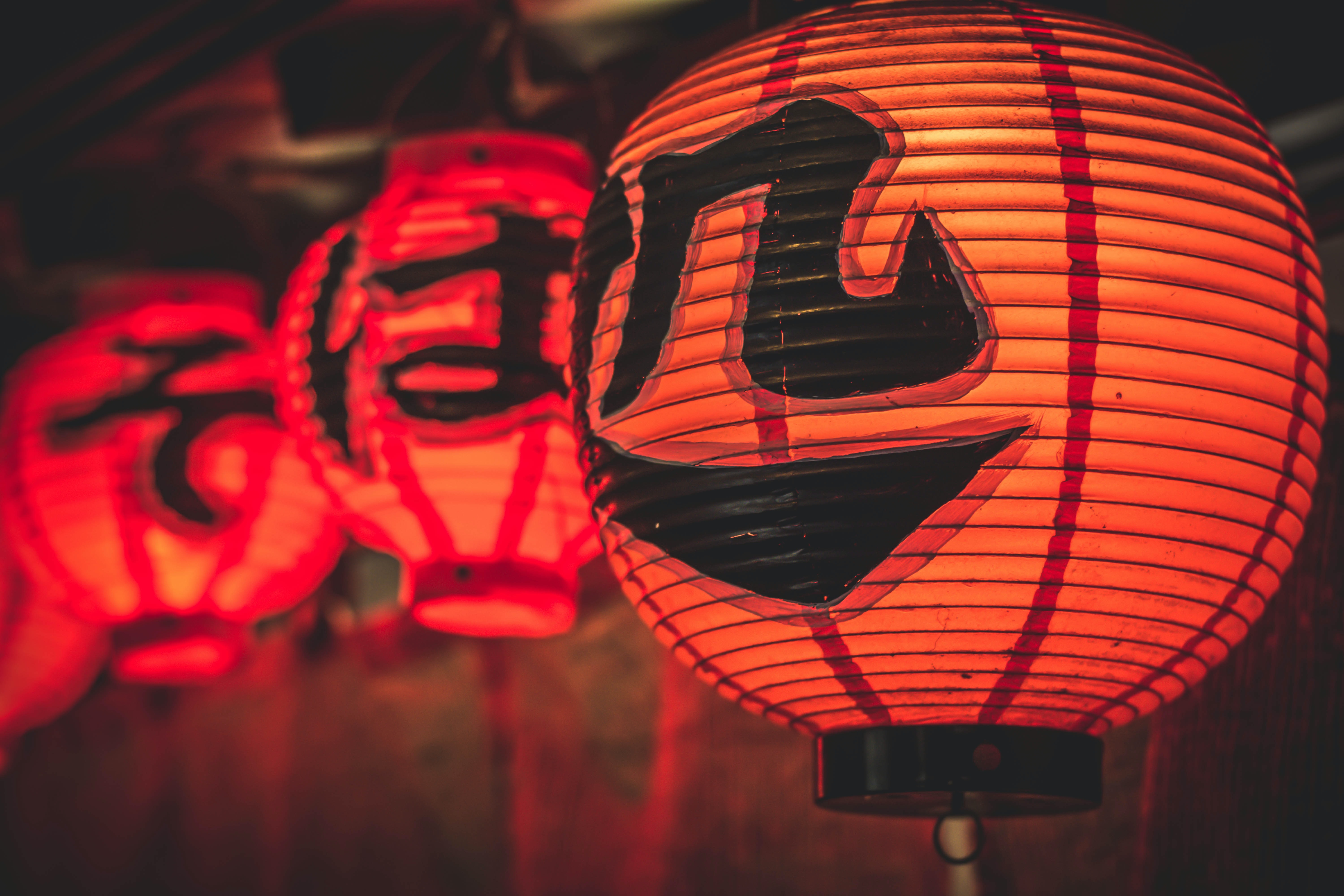 several orange lanterns photography