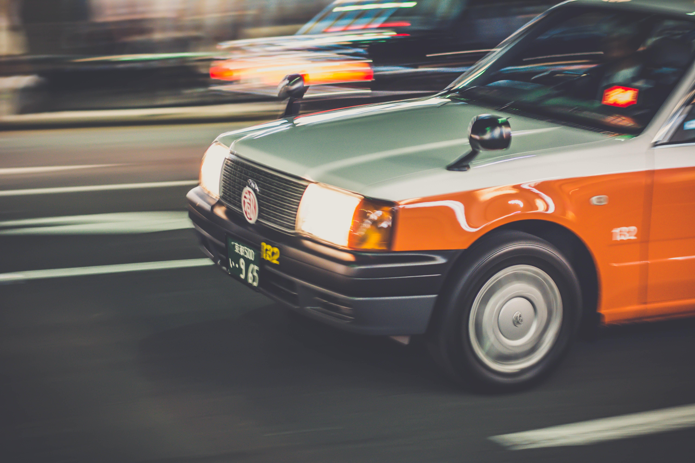white and orange car
