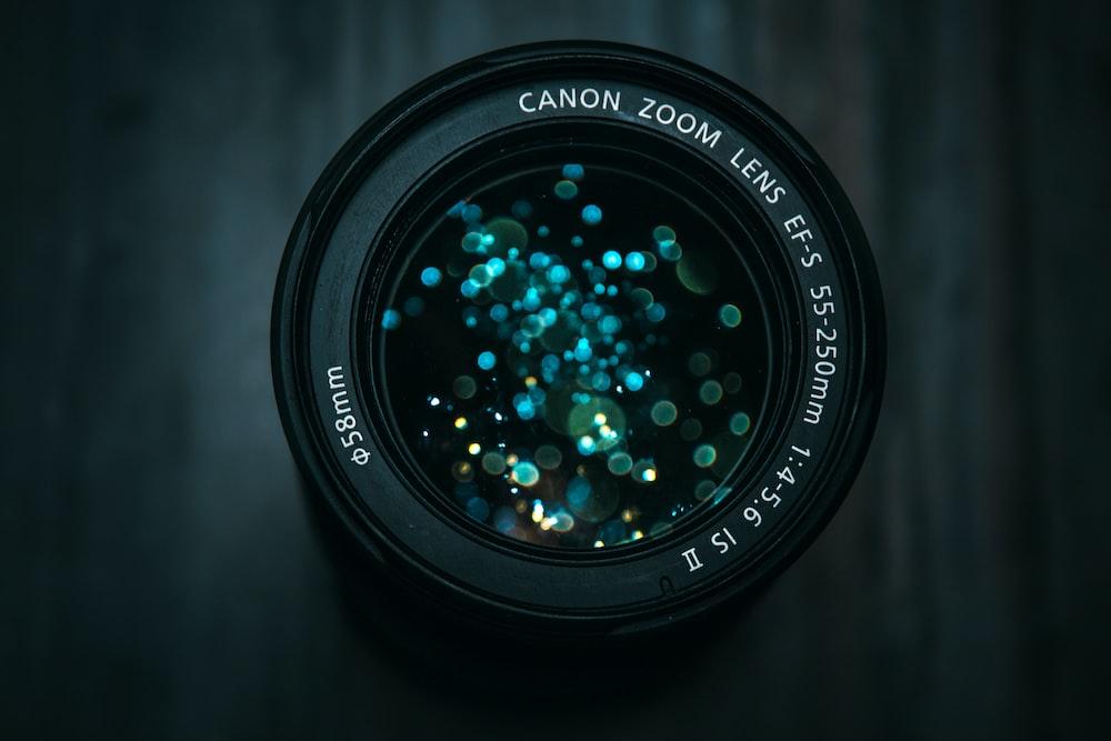 black Canon DSLR camera lens