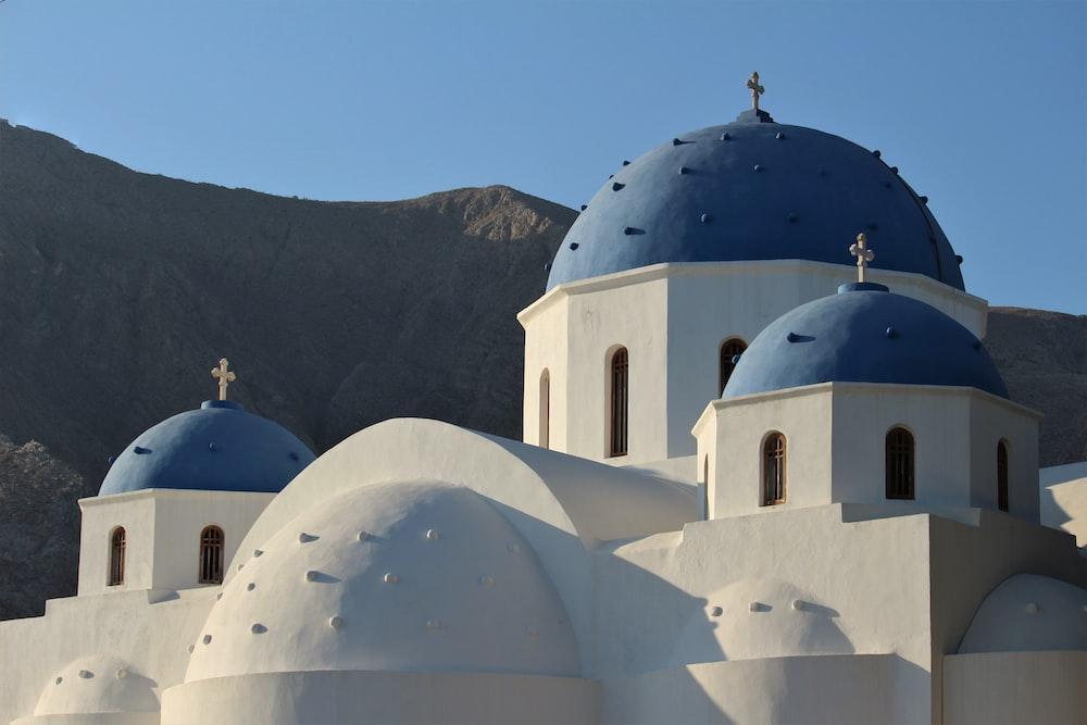 blue dome, Santorini, Greece