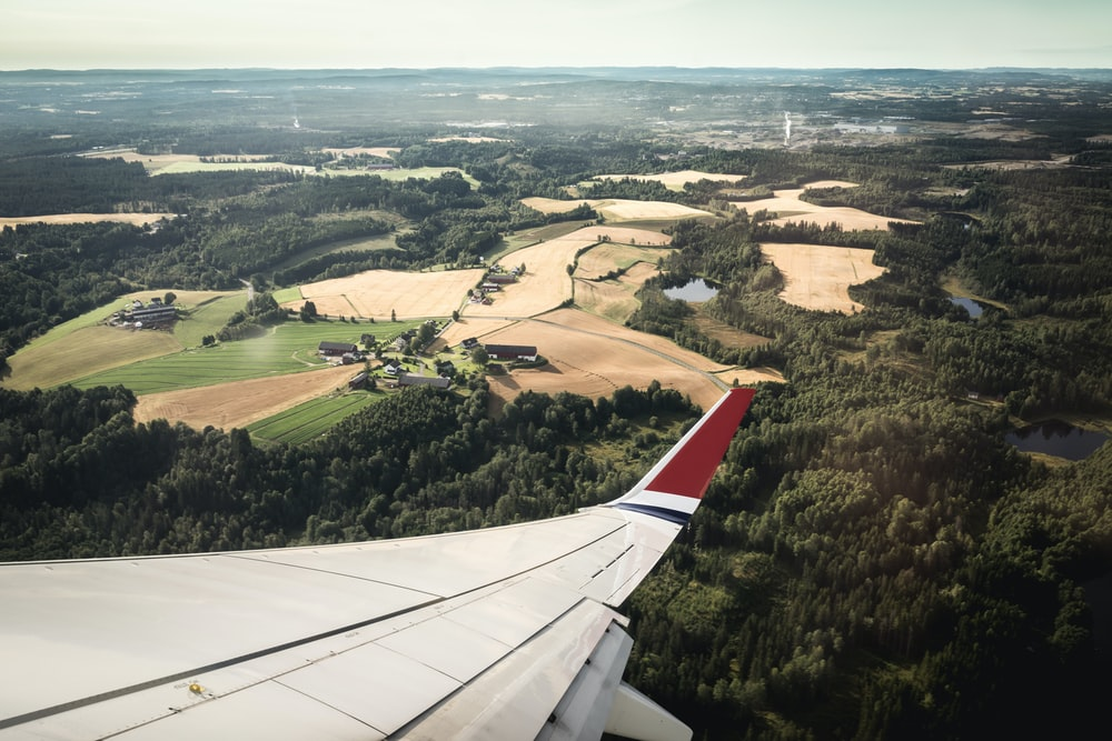 white and red airplane wing in distance brown field and green leafed trees at daytime