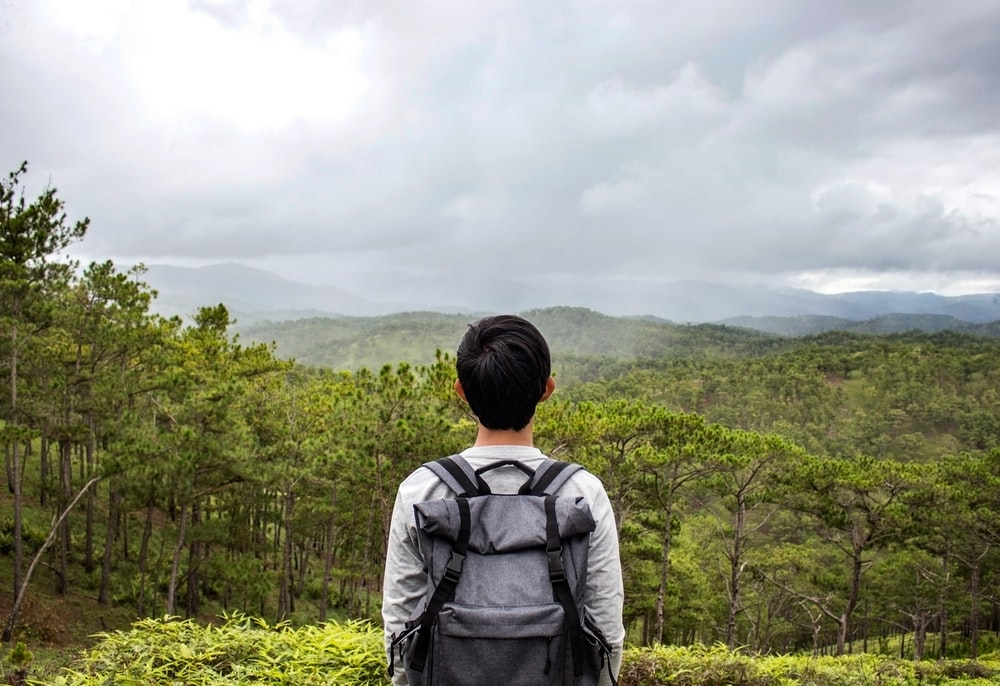 person standing in front of forest screenshot