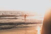 man riding skimboard during golden hour