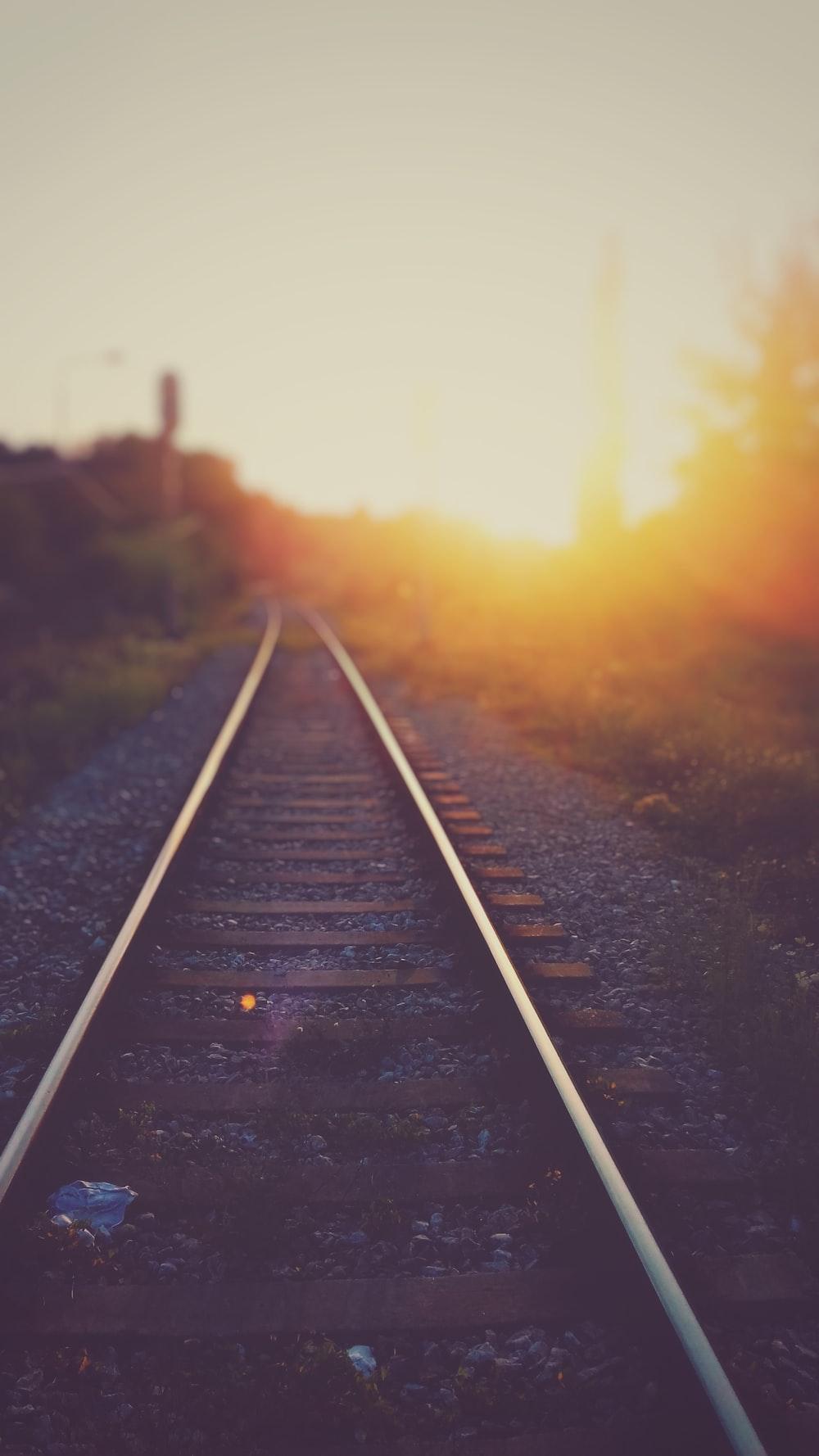 closeup photo of railway