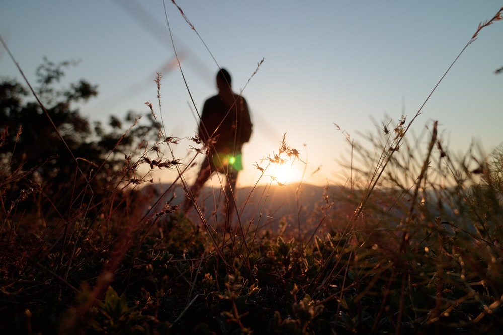 silhouette of person while standing fronting mountains