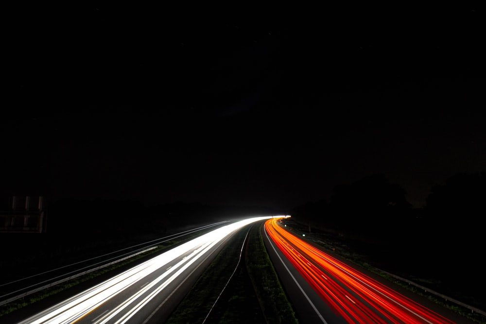 time-lapse photography of busy road
