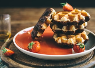 serving of waffle with strawberries