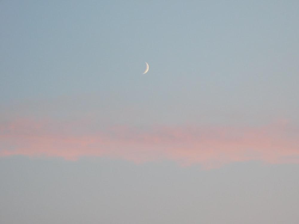 quarter moon during daytime