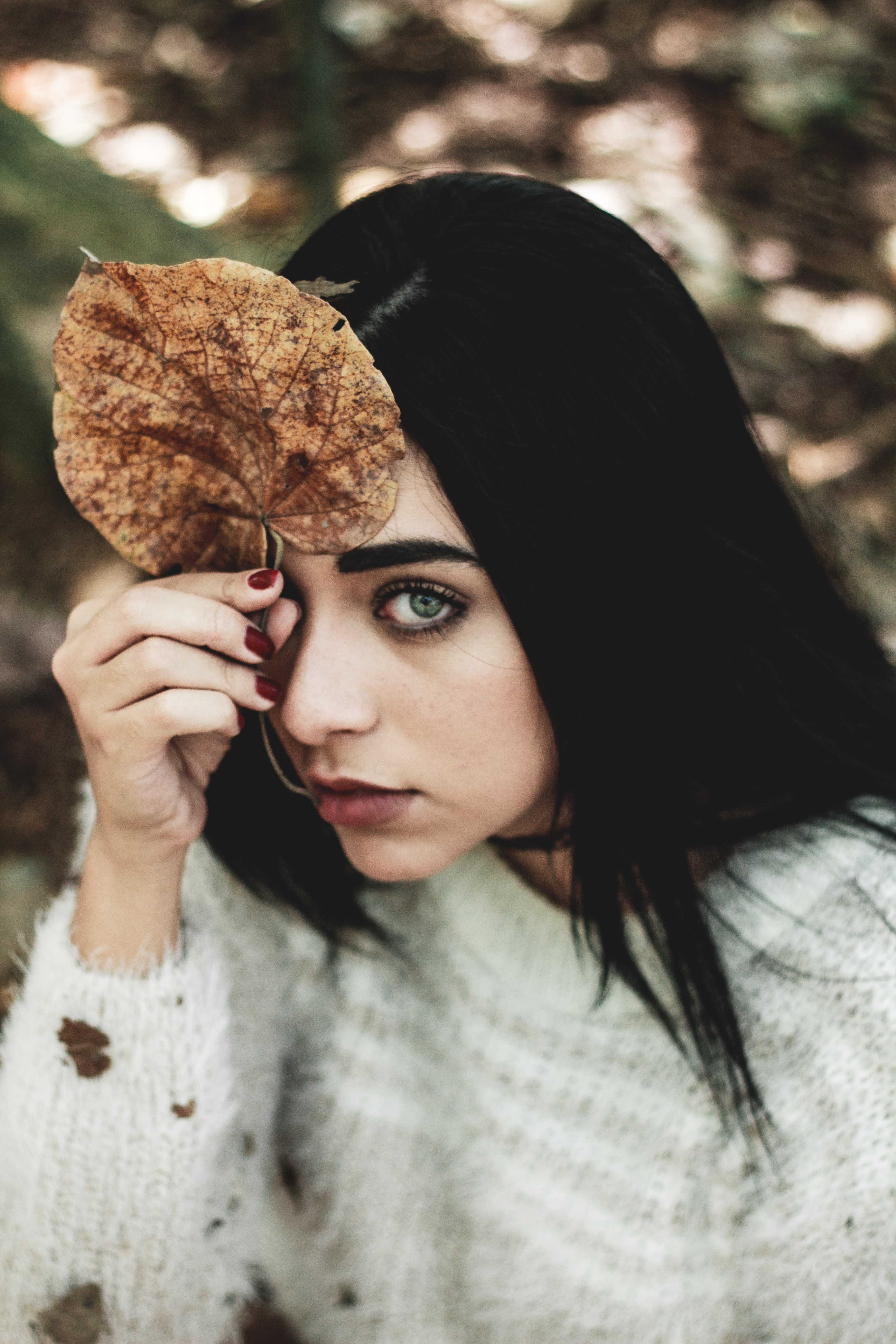 shallow focus photography woman holding dried leaf