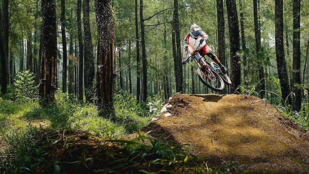 man riding bike doing stunt near green trees during daytime