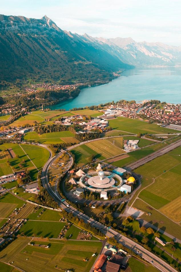 arial view of Interlaken, Switzerland