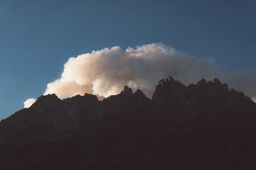 landscape photography of volcano smoke