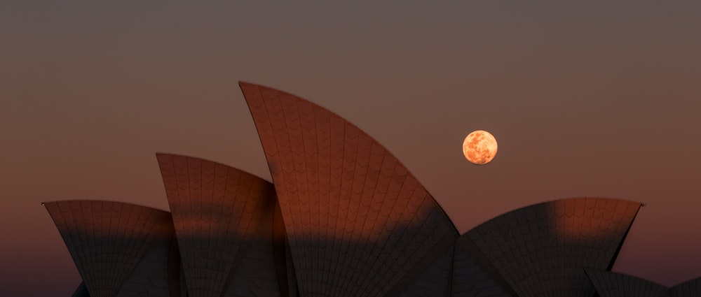 Sydney Opera House, Australia during full moon