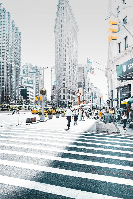 man crossing pedestal lane