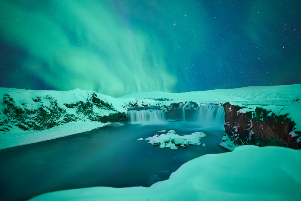waterfalls covered with snow