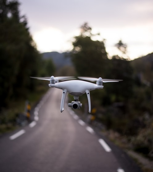 selective focus of quadcopter hang on air