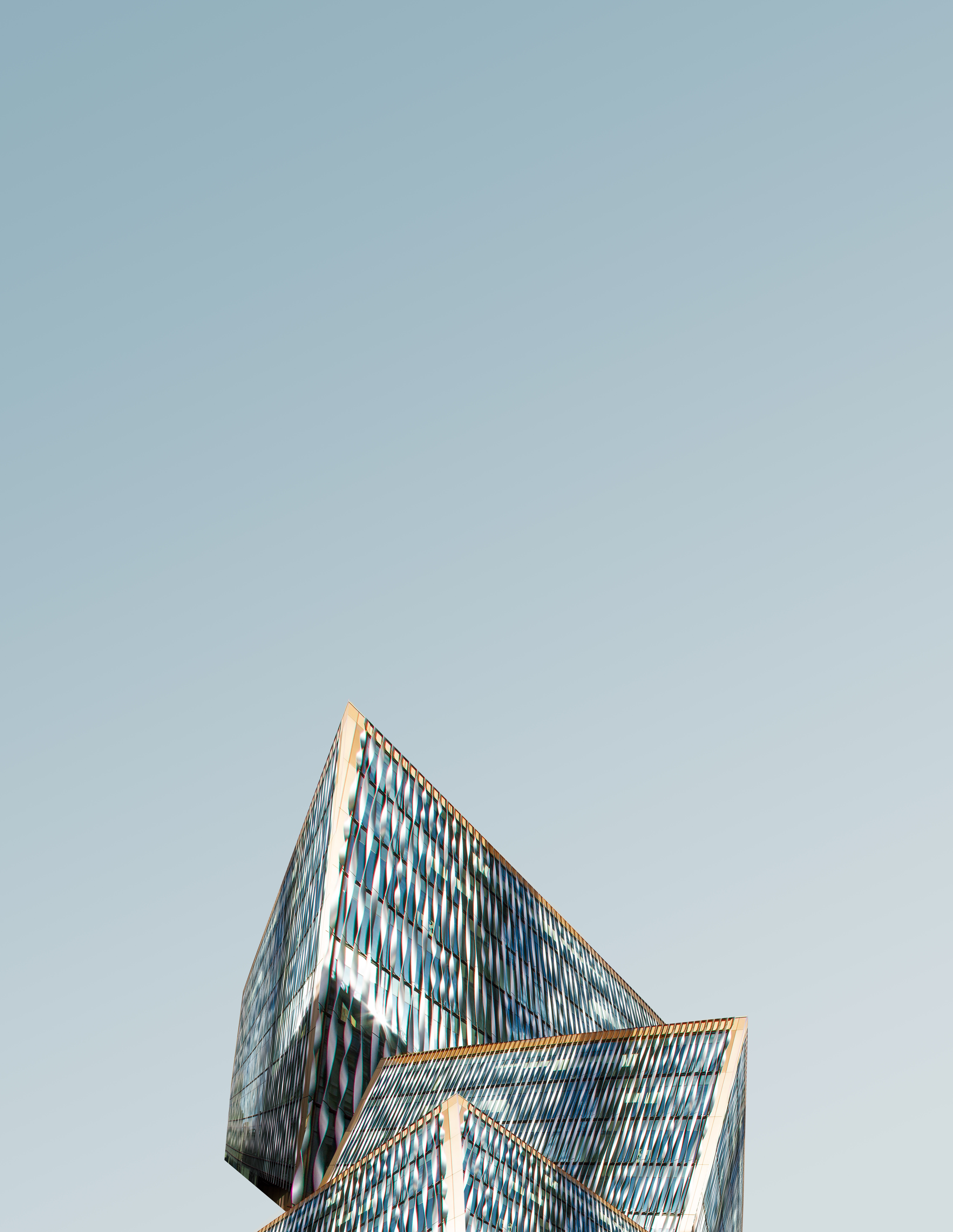 architectural photography of blue and yellow building