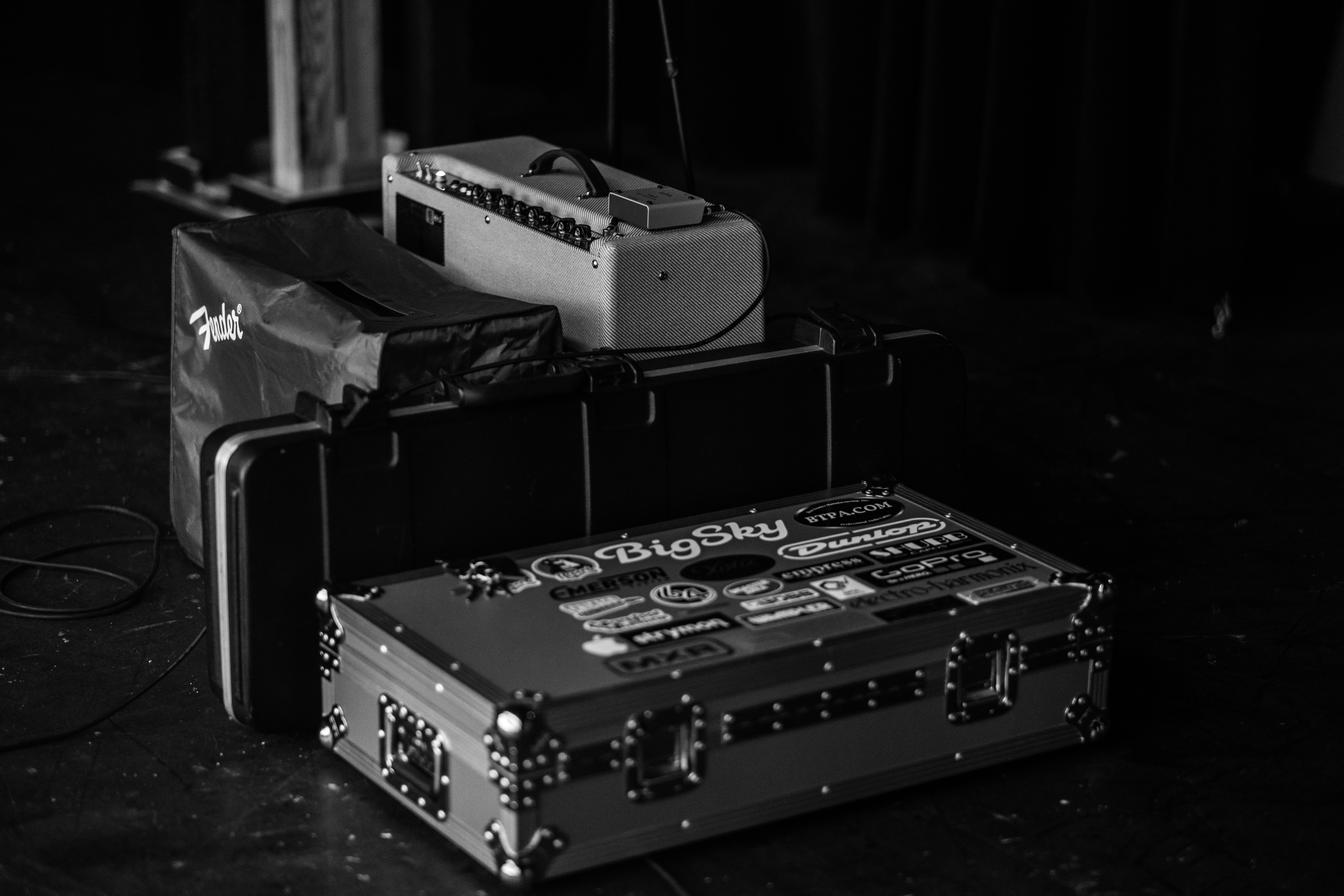 grayscale photography of suitcase