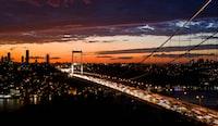 suspension bridge during golden hour