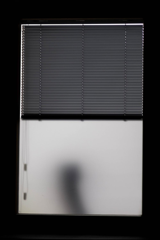 photo of half-open window blinds
