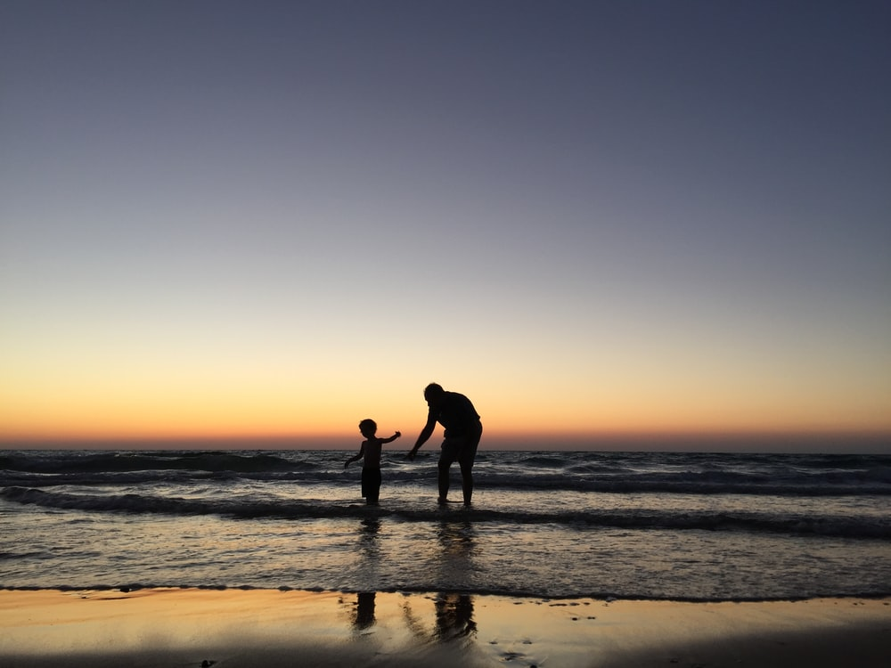 silhouette of man and kid on seashore