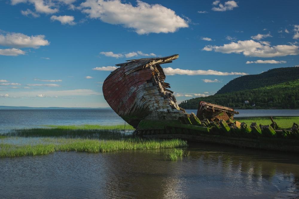 wrecked ship on grass sea