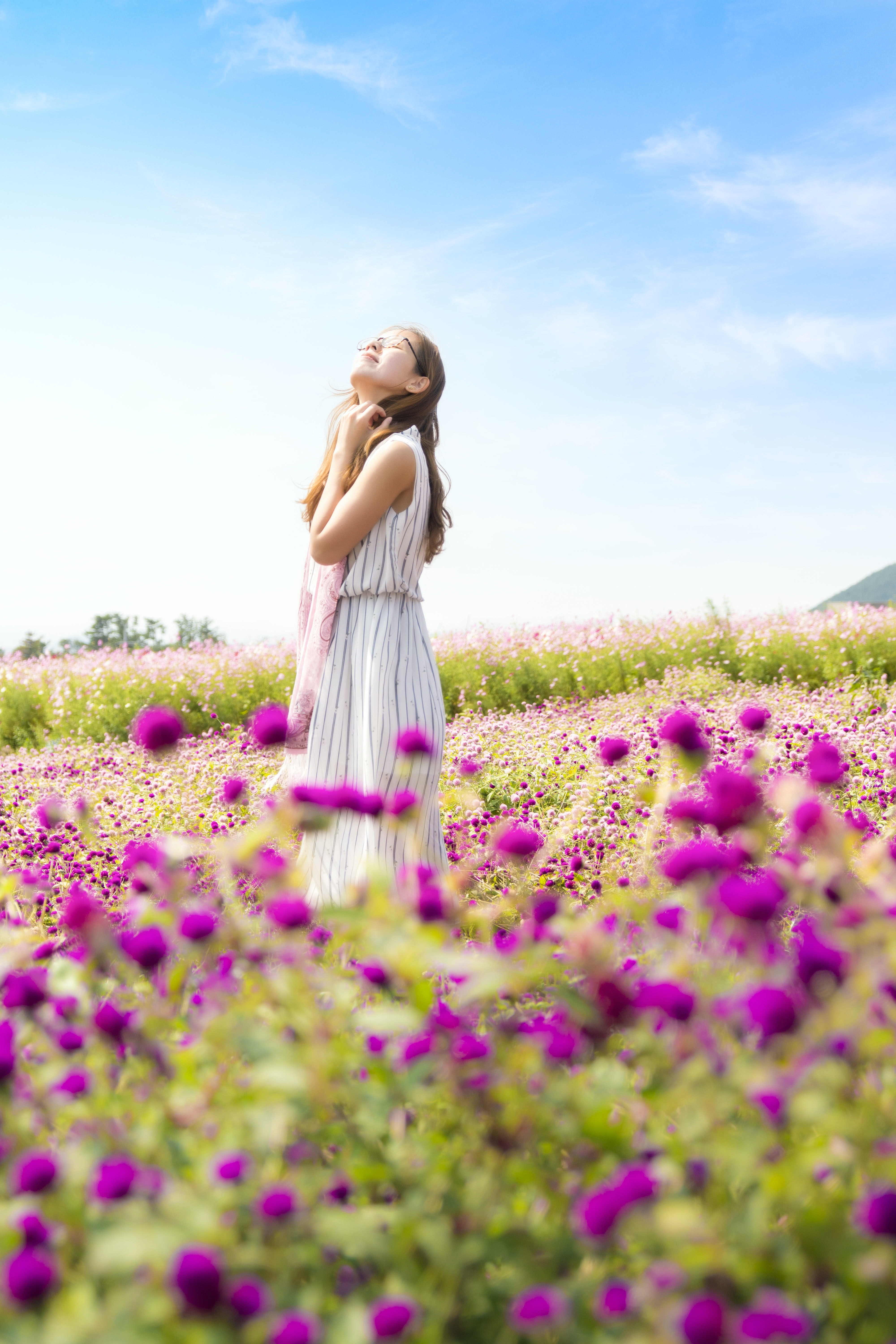 woman wearing white and gray striped sleeveless dress smelling the air standing in the pink flower field at daytime