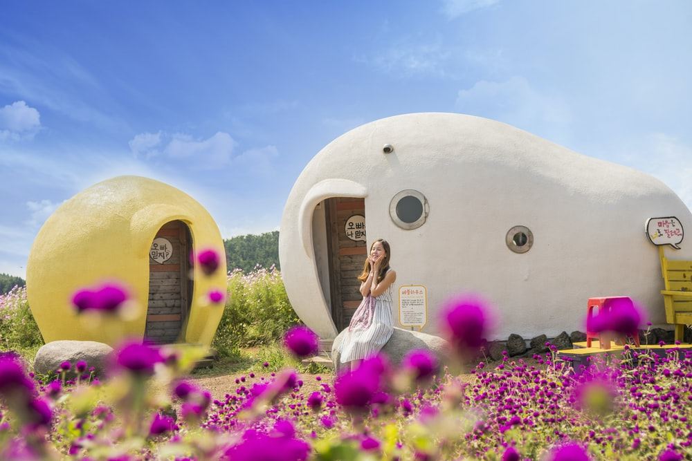 woman sitting in front of white and brown rock house surrounded with purple flowers under blue sky