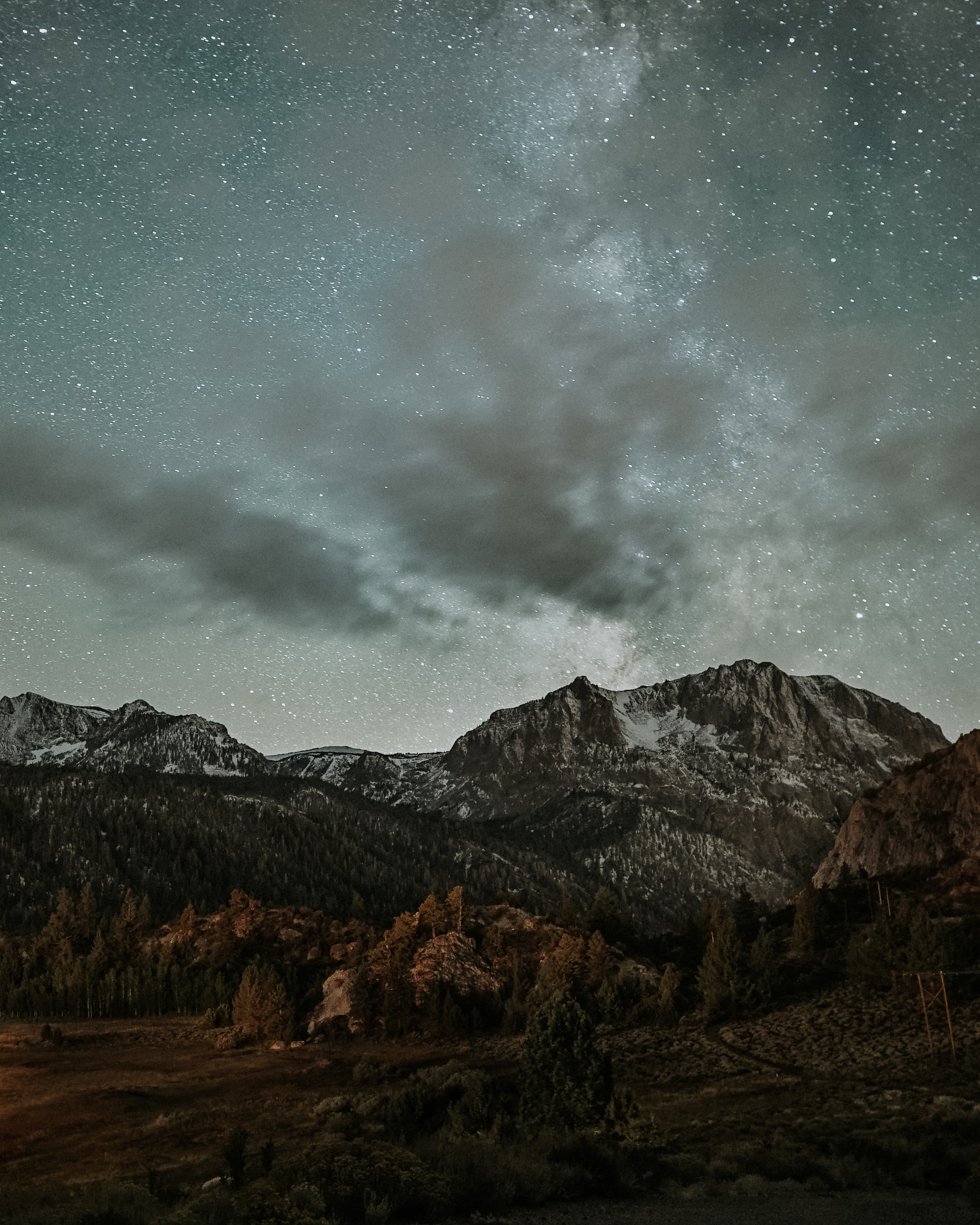 landscape photography of mountains and stars