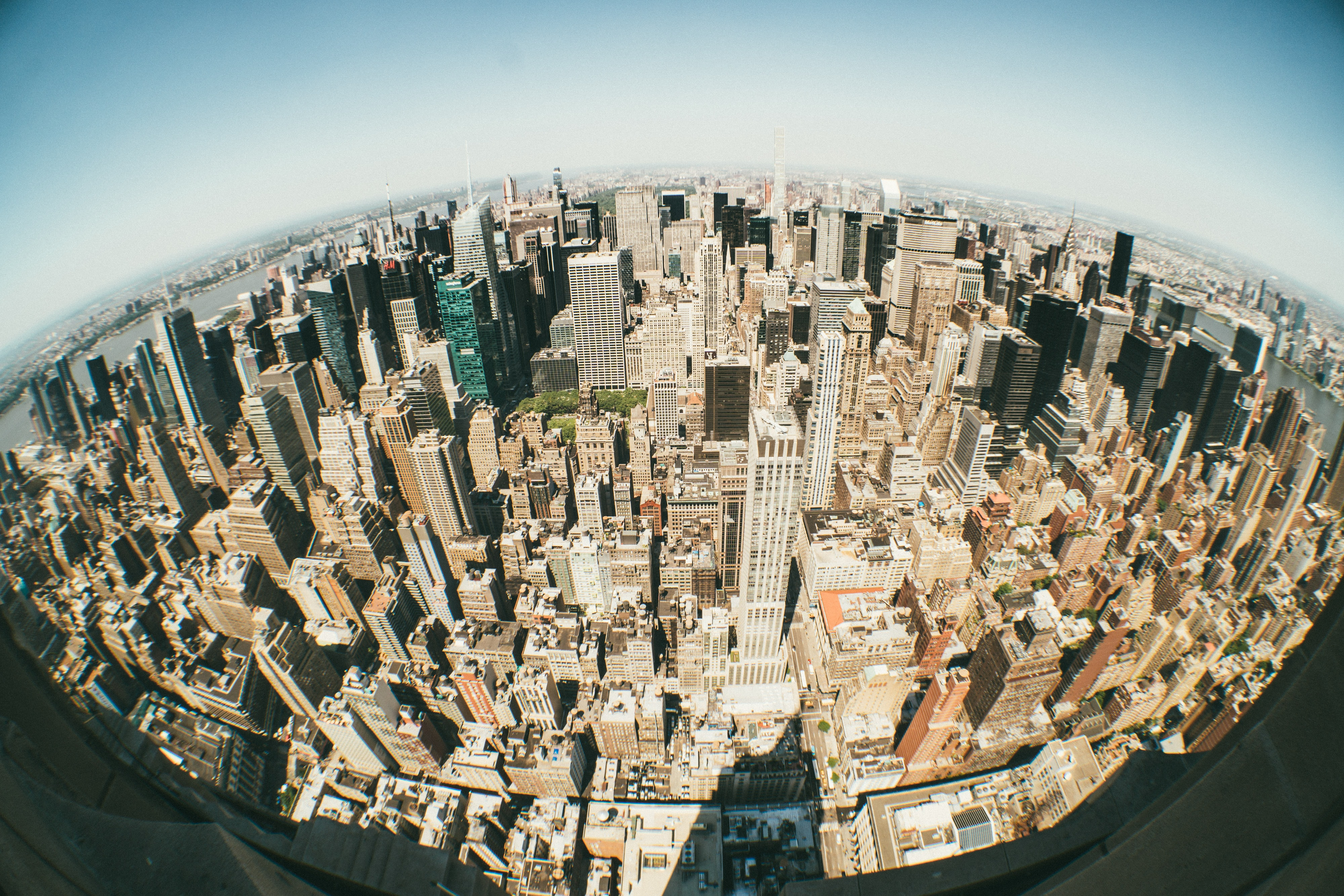 fish-eye lens photography of city buildings