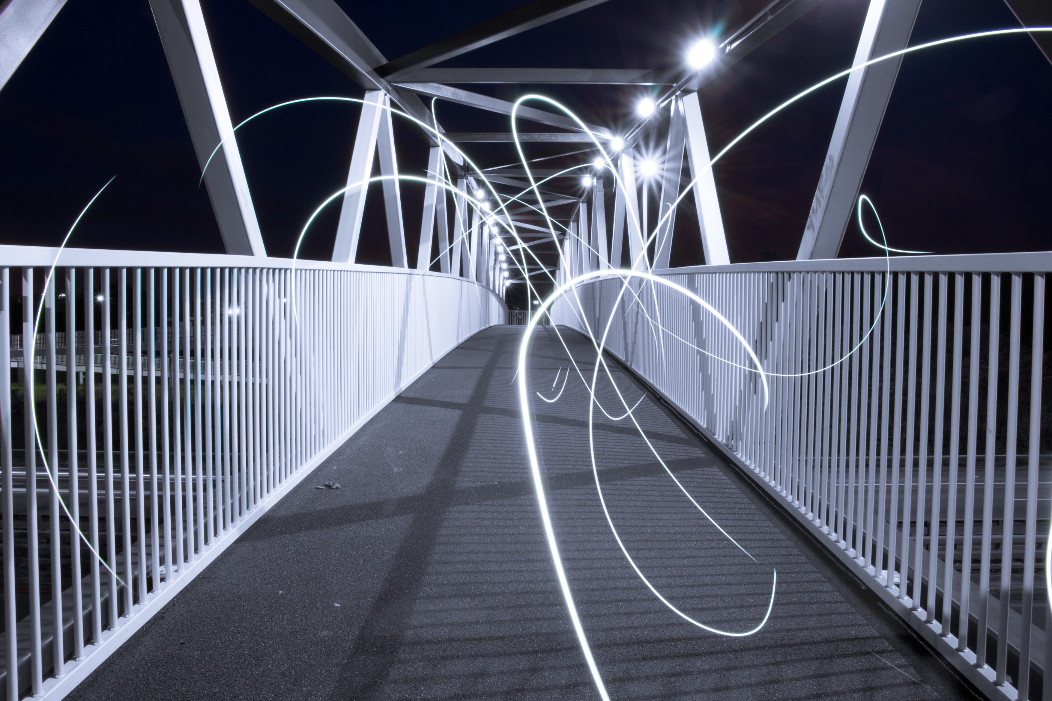 white bridge with lights